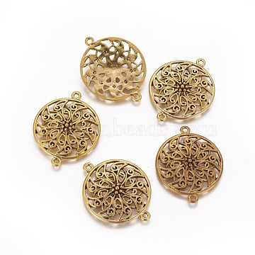 Tibetan Silver Links, Lead Free and Cadmium Free, Antique Golden, about 39mm long, 31mm wide, 5mm thick, hole: 3mm(X-GLF9499Y)