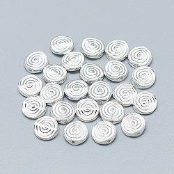 Perles 925 en argent sterling, sculpté 925, plat rond avec une spirale, argenterie, 7.5x2.5mm, Trou: 0.7mm(STER-T002-76S)