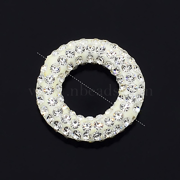 Glittering Polymer Clay with Austrian Crystal Beads Frames, Ring, 001_Crystal, 15x3mm, Hole: 1mm and 8mm(SWARJ-M002-001)
