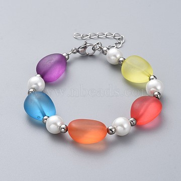 Frosted Acrylic Beaded Bracelets, with 316 Surgical Stainless Steel Beads, Glass Pearl Beads, 304 Stainless Steel Lobster Claw Clasps and Brass Findings, Mixed Color, 7-1/4 inches(18.5cm)(BJEW-JB04871)