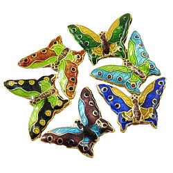 Handmade Cloisonne Beads, Mixed Color, Butterfly, 16mm long, 21mm wide, 3mm thick, hole: 2mm(X-CLB013Y-M)