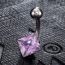 piercing bijoux, anneau de nombril de zircon cubique en laiton environnemental, anneaux de ventre, avec les résultats en acier inoxydable, losange, platine, pourpre, 20x11 mm; broches: 1.5 mm(AJEW-EE0006-27E)