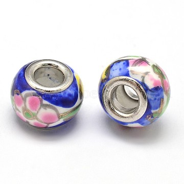 Handmade Polymer Clay Rondelle European Beads, Large Hole Beads, with Platinum Color Brass Double Cores, Royal Blue, 13x9mm, Hole: 5mm(FPDL-E003-09)