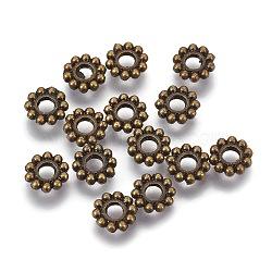 Акриловые бусины прокладки тибетского стиля, цветок, античная бронза, 6.5x1.5 мм, отверстие : 2 мм(PALLOY-TA0001-08AB)