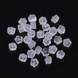 écrous en plastique, boucles d'oreille, effacer, 4x4x2.5 mm, trou: 0.5 mm; environ 465 pcs / 20 g(X-KY-R011-06)