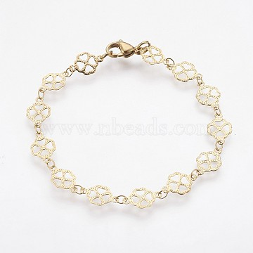 Vacuum Plating 304 Stainless Steel Chain Bracelets, with Lobster Claw Clasps, Clover, Golden, 7-3/4 inches(19.6cm)(BJEW-P236-02G)