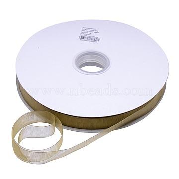 Polyester Organza Ribbon, Dark Goldenrod, 3/8 inch(9mm), 200yards/roll(182.88m/roll)(ORIB-L001-03-687)