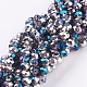 Half Plated Faceted Rondelle Electroplate Glass Beads Strands(X-EGLA-D020-6x4mm-20)-1