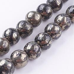Chapelets de perles de pyrite naturelle , rond, 8mm, trou: 1mm; environ 25 pcs/chapelet, 8''(G-P303-01-8mm-8)