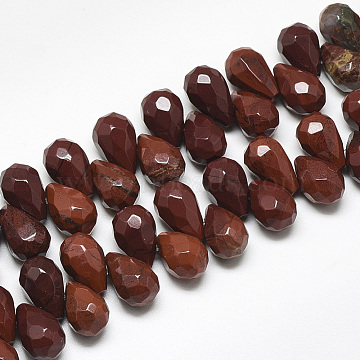Natural Red Rainbow Jasper Beads Strands, Top Drilled Beads, Faceted, Teardrop, 11.5~12x8mm, Hole: 0.8mm; about 40pcs/strand, 8.2 inches(G-S357-C01-02)