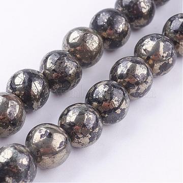 8mm Round Pyrite Beads