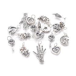 925 pendentifs en argent sterling thaïlandais, Avec anneau de saut, formes mixtes, argent antique, 13~30x4.5~17.5x1~4.5 mm, trou: 4 mm(STER-F050-02AS)
