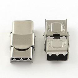Surface lisse fermoirs de bande de montre 201 en acier inoxydable, platine, 25.5x13x8mm, Trou: 10x4mm(X-STAS-R063-86)