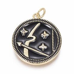 Pendentifs avec zircon cubiques à micro-pavés en laiton, avec émail et anneau de saut, plat rond avec des constellations, or, Sagittaire, 23x21x2.5mm, Trou: 3mm(ZIRC-L083-013B-10G)