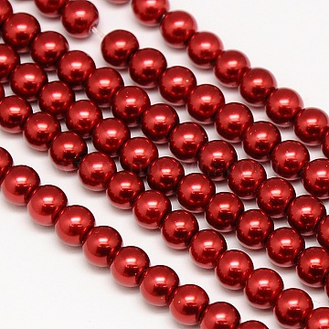 Eco-Friendly Dyed  Glass Pearl Round Bead Strands, Cotton Cord Threaded, Red, 8mm, Hole: 0.7~1.1mm, about 52pcs/strand, 15 inches(X-HY-A002-8mm-RB038)