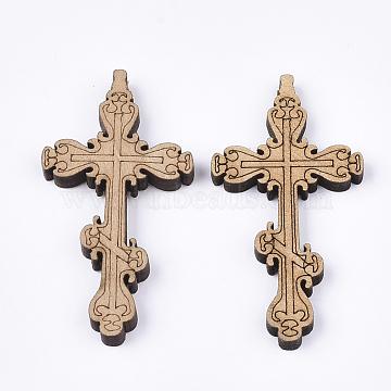 Wooden Big Pendants, Cross, Wheat, 51x26.5x4.5mm, Hole: 1.5mm(X-WOOD-S050-30C)