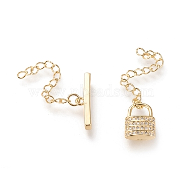 Brass Micro Pave Cubic Zirconia Toggle Clasps, Long-Lasting Plated, with Extender Chains, Lock, Real 18K Gold Plated, Bar: 4.3x18.8x2.7mm, Hole: 3mm; Lock: 12.2x9x3.3mm, Hole: 2.5mm; Extender Chain: 33mm & 36mm(KK-M108-I01)