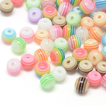 Transparent Stripe Resin Beads, Round, Mixed Color, 8mm, Hole: 2mm(X-RESI-S345-8mm-M)