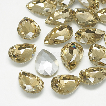 Pointed Back Glass Rhinestone Cabochons, Back Plated, Faceted, Teardrop, Coffee, 8x6x3mm(RGLA-T081-6x8mm-04)