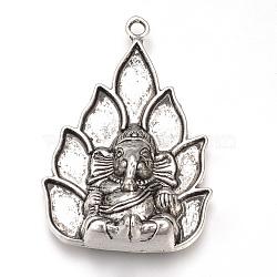 Alliage de style tibétain supports d'émail grand pendentif, Éléphant hindou dieu lord ganesh statue, sans cadmium et sans plomb, argent antique, 54x36x11mm, Trou: 3mm(X-TIBEP-T002-135AS-RS)