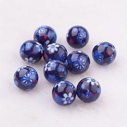 Perles en résine, avec motif de fleurs, rond, darkblue, 10mm, Trou: 2mm(GLAA-F049-A10)