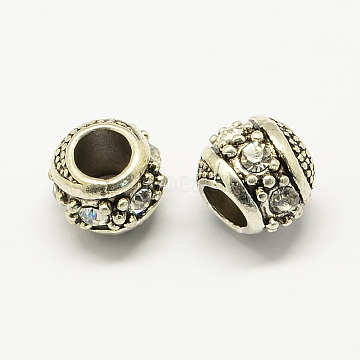 Alloy Rhinestone European Beads, Rondelle Large Hole Beads, Antique Silver, Crystal, 11x10mm, Hole: 5mm(MPDL-R036-08F)