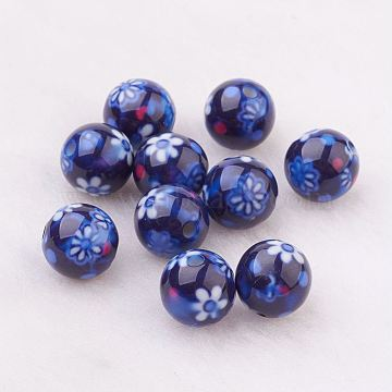 Spray Painted Resin Beads, with Flower Pattern, Round, Dark Blue, 10mm, Hole: 2mm(GLAA-F049-A10)