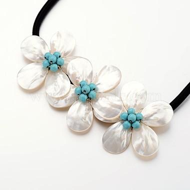 Flower Mother of Pearl Bib Statement Necklaces(NJEW-I197-07B)-2