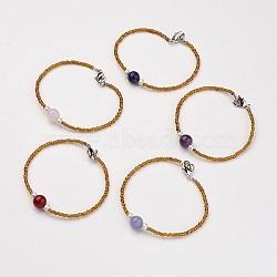 """Perles naturelles de pierres précieuses bracelets, Avec des perles de verre transparentes et des griffes en laiton, couleur mixte, 6-7/8"""" (175 mm)(BJEW-JB02740)"""
