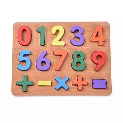 enfants en bois blocs de construction de bricolage, pour les jouets d'apprentissage et d'éducation, nombre, couleur mélangée, 29.8x22.8x1.5 cm; 15 pcs / set(DIY-L018-18)