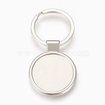Zinc Alloy Cabochon Settings Keychain, with Iron Ring, Flat Round, Platinum, Tray: 29mm, 71mm, 43.5x34x4mm, 1pc/box(X-KEYC-E028-01P)