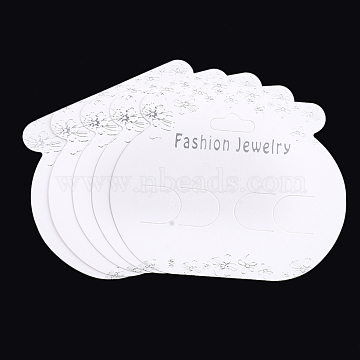 Cardboard Display Cards, Used For Hair Barrettes, White, 7.5x9.5x0.03cm, Hole: 18x7.5mm(CDIS-S025-44)
