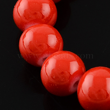 Painted Glass Beads Strands, Round, Red, 8mm, Hole: 1mm; about 104pcs/strand(X-DGLA-R003-8mm-25)