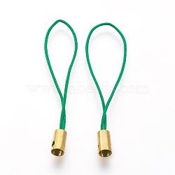 Нейлоновый шнур мобильные ремни, с фурнитурой латунной золотого тона, зелёные, 50x4 мм; отверстие: 1.8 мм(MOBA-F005-03G-11)