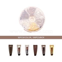 Boutons-pression en laiton, bronze antique et doré et platine et bronze à canon et cuivre rouge et argent, 11x4mm; 30 pcs / couleur, 180 pcs / boîte(KK-YW0001-13)