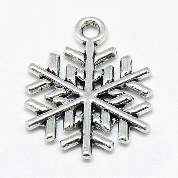 Antique Silver Snowflake Alloy Pendants