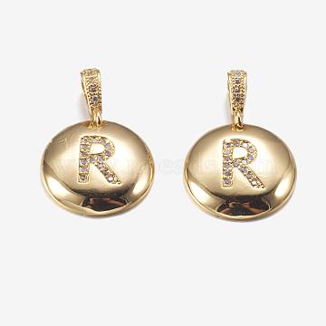 Golden Flat Round Brass+Cubic Zirconia Pendants