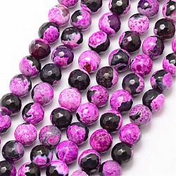 Natural Fire Agate Bead Strands, Round, Grade A, Faceted, Dyed & Heated, Orchid, 8mm, Hole: 1mm; about 47pcs/strand, 15