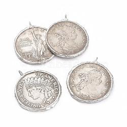 Pendentifs de monnaie en laiton, plat et circulaire avec le mot, argent antique, 45~46x39~40x3mm, Trou: 4.5mm(KK-L194-01AS)
