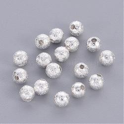 Brass Textured  Round Beads, Nickel Free, Silver Color Plated, 4mm, Hole: 1mm(X-KK-EC247-S-NF)