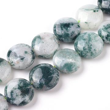 naturelles agate perles brins, plat rond, 10~11x4~5 mm, trou: 0.8~1 mm; environ 39 perle / brin, 15.35 (39 cm)(G-G805-D07)