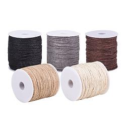 coloré cordon de chanvre, chaîne de chanvre, ficelle de chanvre, 3, pour la fabrication de bijoux, couleur mélangée, 2 mm; sur 100 m / rouleau, 5 rouleaux / set(OCOR-PH0003-46)