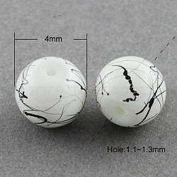 Drawbench Glass Bead Strands, Round, White, 4mm; Hole: 1.1~1.3mm; about 200pcs/strand, 31.4inches(X-GLAD-S074-4mm-74)