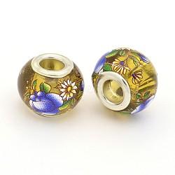 image de fleur en verre imprimé perles européennes, grand trou perles rondelle, avec des noyaux de laiton de ton argent, verge d'or, 14x11 mm, trou: 5 mm(GPDL-J029-E27)
