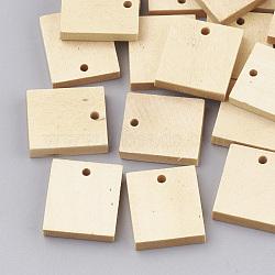 Pendentifs en bois, rectangle, blé, 20x17~18x4mm, Trou: 2mm(WOOD-T008-05)