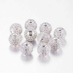 Brass Cubic Zirconia Beads, Round, Silver Color Plated, 10mm, Hole: 2mm(ZIRC-D003-2S)