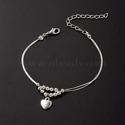 Tibetan Style Heart Charm Anklets, with Iron Beads, Brass Coreana Chains and Brass Lobster Claw Clasps, Silver Color Plated, 9 inches(23cm)(AJEW-AN00082)