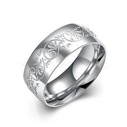 Модные 316л титана стали широкие полосы кольца для мужчин, цвет нержавеющей стали, Размер 7, 17.3 мм(RJEW-BB07138-7)