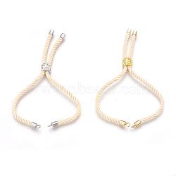 Fabrication de bracelet en corde de coton, avec les accessoires en laiton, plat et circulaire avec arbre de vie, cornsilk, 25cm; trou: 2mm(KK-F758-03K)