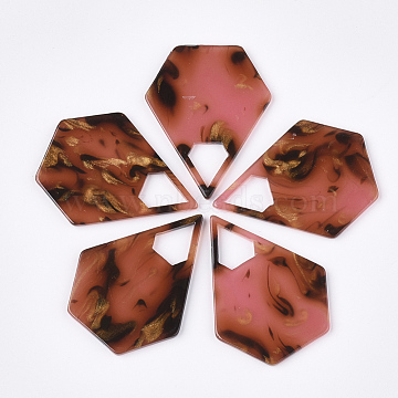 Cellulose Acetate(Resin) Pendants, Pentagon, IndianRed, 41.5x32.5x2mm, Hole: 11x10mm(X-KY-S158-54E)